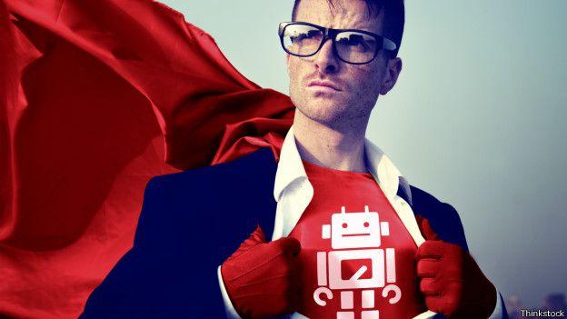 Imagen de un ejecutivo con traje de super héroe