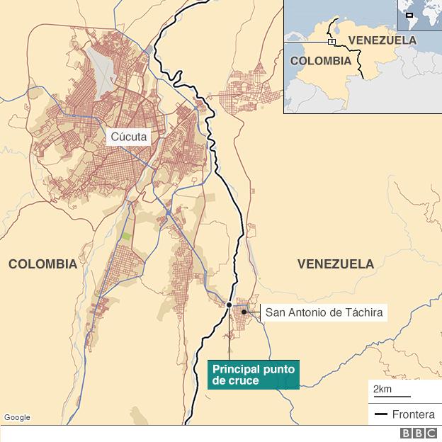 Mapa frontera Colombia Venezuela