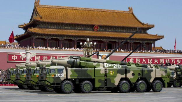 中国庆祝抗日战争胜利70周年阅兵式上的东风导弹(3/9/2015)