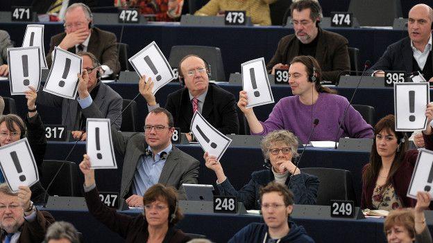 Parlamentarios europeos protestan en 2013