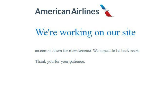 La web de American Airlines se encuentra caída.