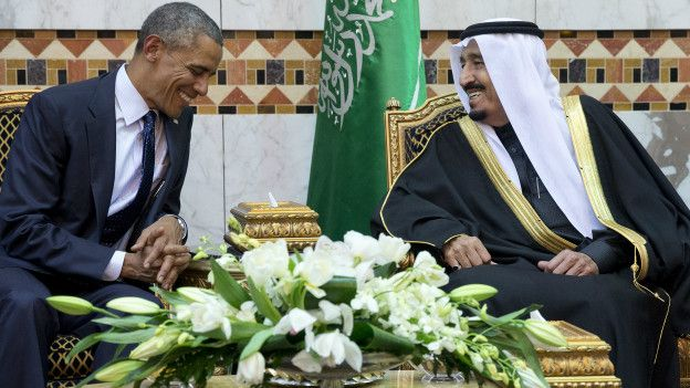 Obama y el rey Salman bin Abdul Aziz de Arabia Saudita.