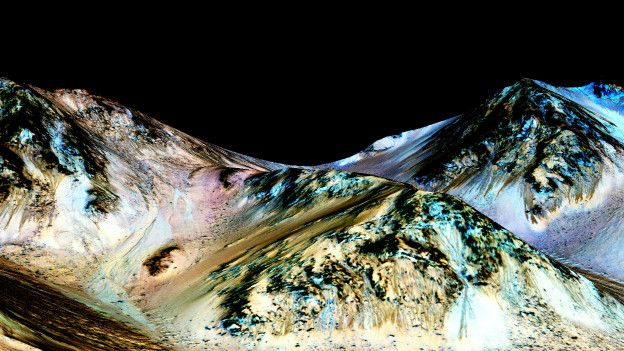 Foto de la NASA de la evidencia de corrientes de agua en Marte
