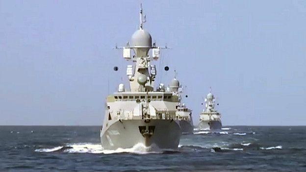 Barcos rusos en el Caspio