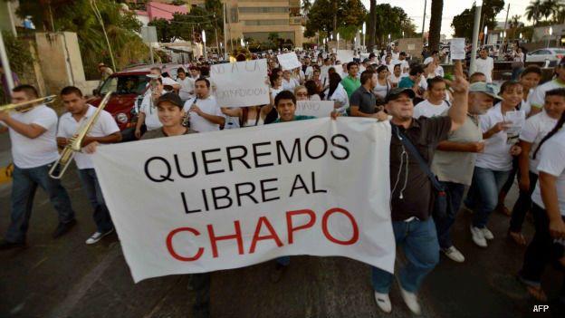 Protesta en Sinaloa para exigir la liberación de El Chapo, en 2014