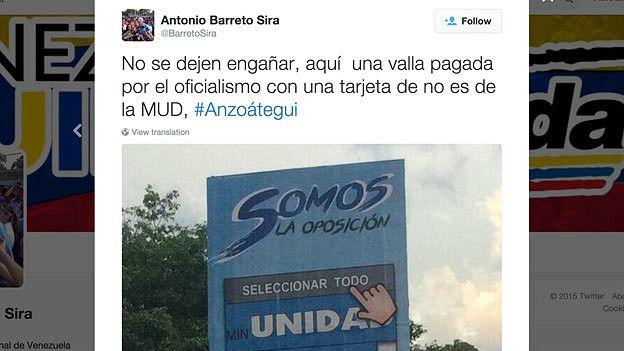 El diputado candidato opositor Antonio Barreto Sira