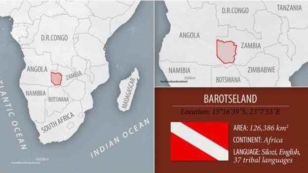 Ubicación en el mapa de Barotselandia