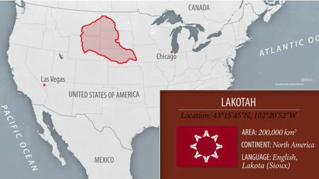 Ubicación en el mapa de Lakota