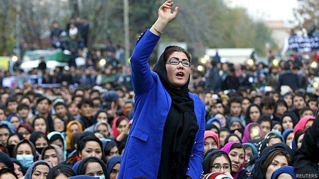 Mujeres de la minoría Hazara durante la protesta en Kabul