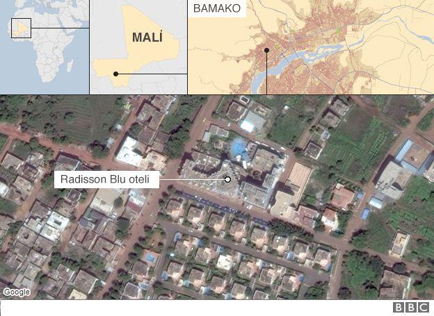 Bản đồ nơi có khách sạn bị các tay súng bắt giữ con tin