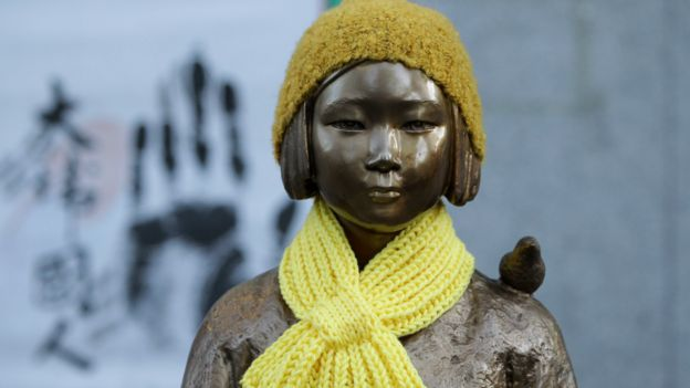 首尔日本驻韩大使馆外的慰安妇铜像(28/12/2015)