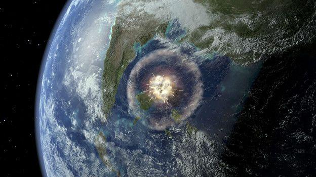 Representación del impacto de un asteroide en la Tierra