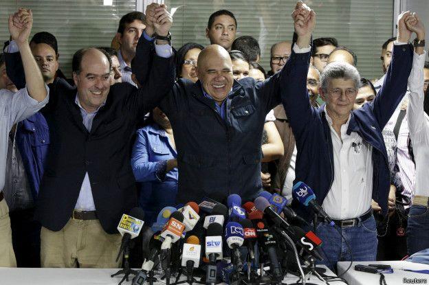 Dirigentes de la oposición venezolana, Julio Borges, Jesús Torrealba y Henry Ramos Allup