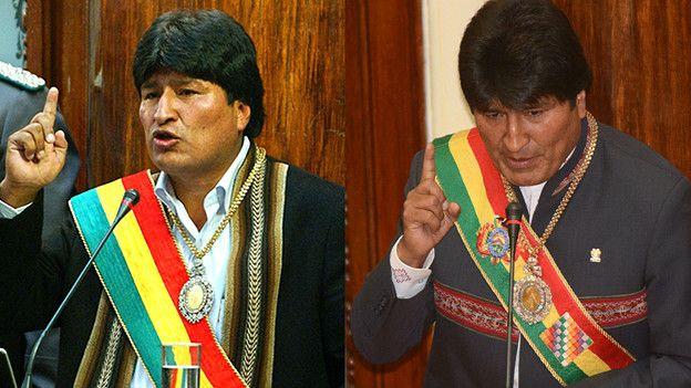 Evo Morales en 2006 y 2015