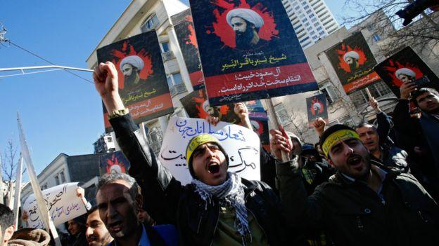 伊朗德黑蘭民眾在沙特阿拉伯大使館外抗議處決尼姆爾(3/1/2016)