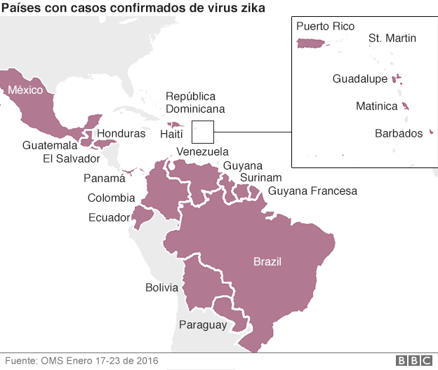 Mapa de países más afectados por el virus Zika