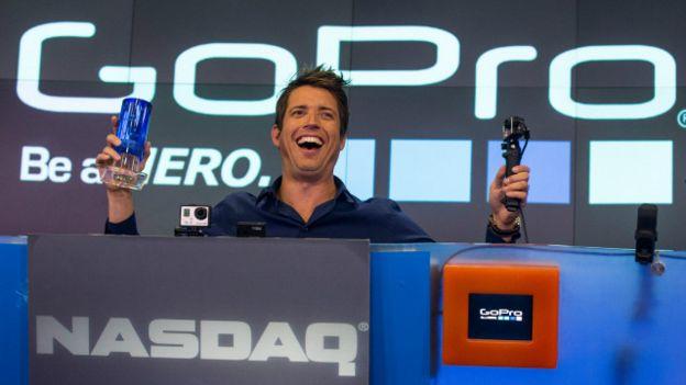 Nicholas Woodman, CEO de GoPro, cuando la empresa salió a cotizar en la bolsa de Nueva York.