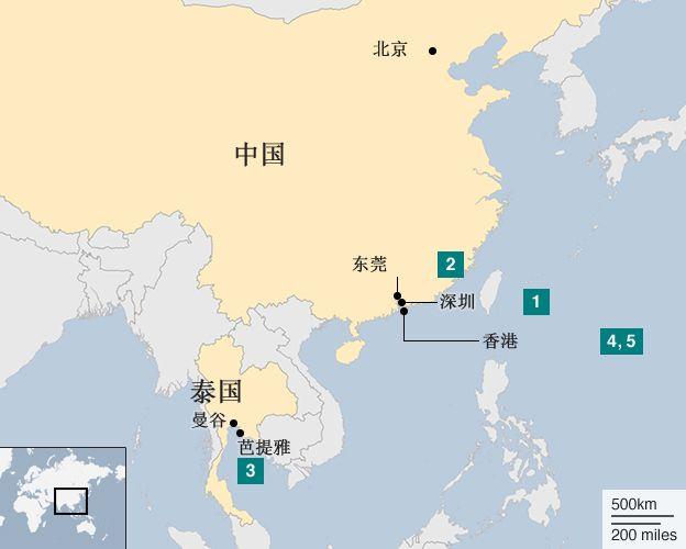 地圖:銅鑼灣書店五人失蹤時序