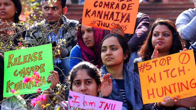 कन्हैया कुमार की गिरफ़्तारी के विरोध में प्रदर्शन