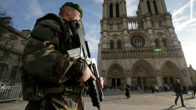 Un soldado delante de Notre Dame