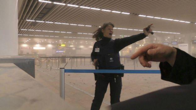 布魯塞爾國際機場爆炸現場。