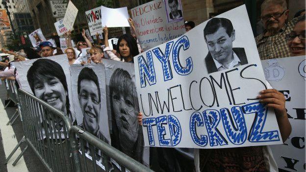 Protesta de inmigrantes en Nueva York en contra de Ted Cruz.