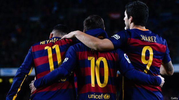 Leo Messi, Neymar y Luis Suarez