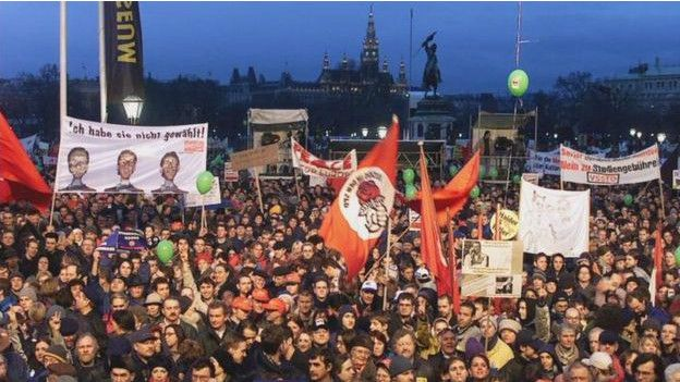 Manifestación en contra del Partido de la Libertad en Austria en 2000.