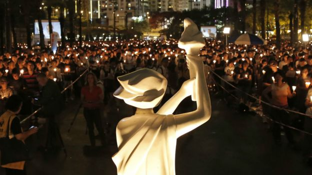 维园竖立的民主女神像