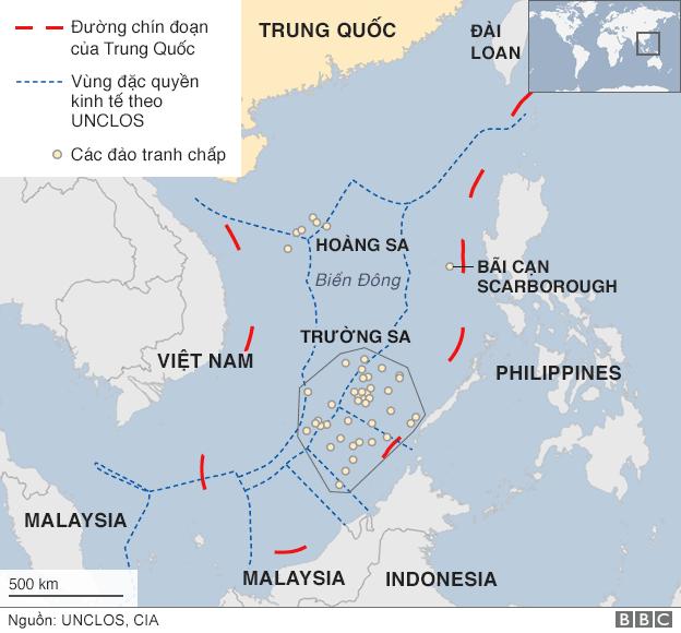 Bản đồ vùng Biển Đông với
