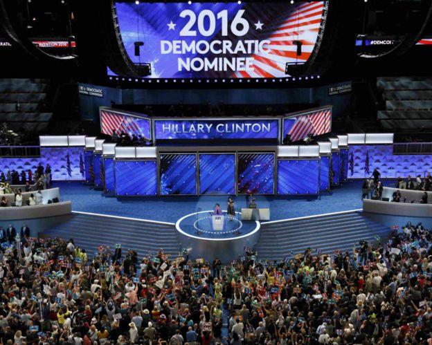 费城民主党党代会宣布提名希拉里·克林顿瞬间(26/7/2016)
