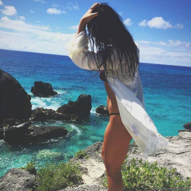 罗贝热在社交网站Instagram上晒出的百慕大霍斯舒海滩的照片。