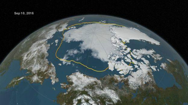 خبرگزاری ایرسا نیوز:پوشش یخی ناحیه قطب شمال در کمترین حد پس از ۲۰۱۲