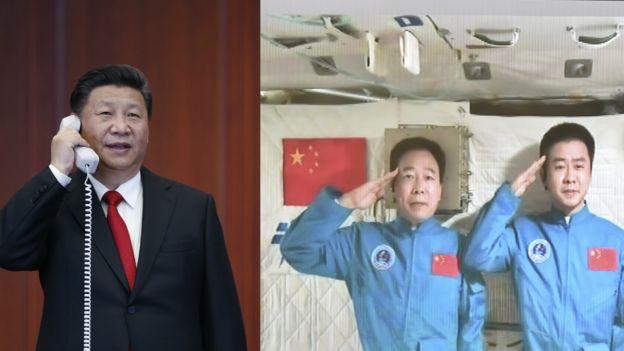 习近平(左)与神舟十一号航天员景海鹏、陈冬通话(新华社图片9/11/2016)