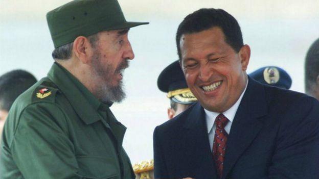 2000年,查韋斯(右)在委內瑞拉機場迎接菲德爾·卡斯特羅