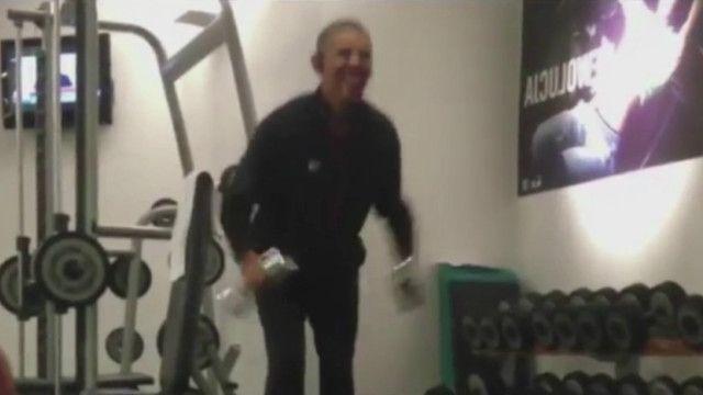 Barack Obama en el gimnasio