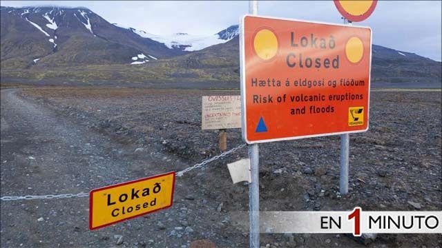 Camino cerrado en las cercanías del volcán Bardarbunga, Islandia