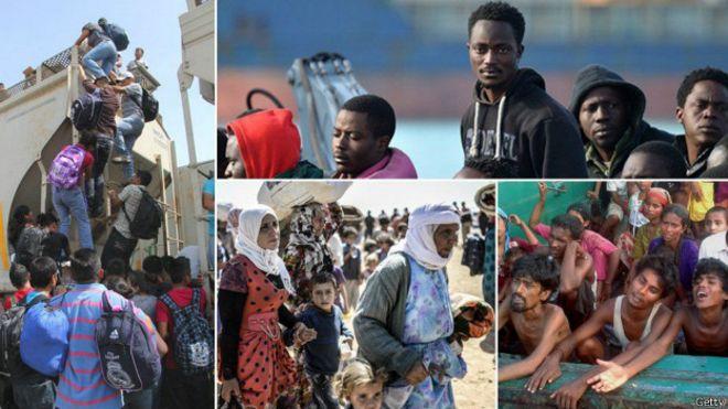 Escenas de migrantes alrededor del mundo