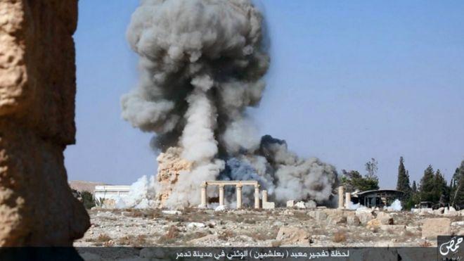 Destrucción del templo de Bel por el Estado Islámico.