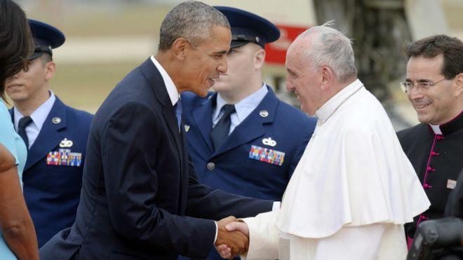 Барак Обама встречает папу Франциска
