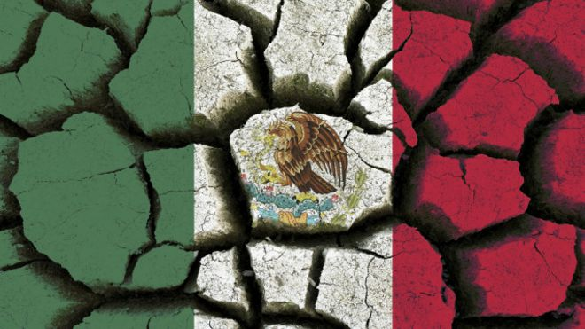 Flag of Mexico like a dry land