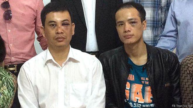Các luật sư Trần Thu Nam (trái) và Lê Văn Luân