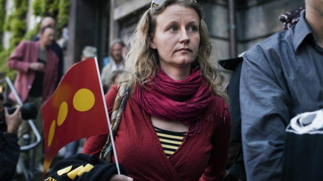 Una mujer en una manifestación en Christiania