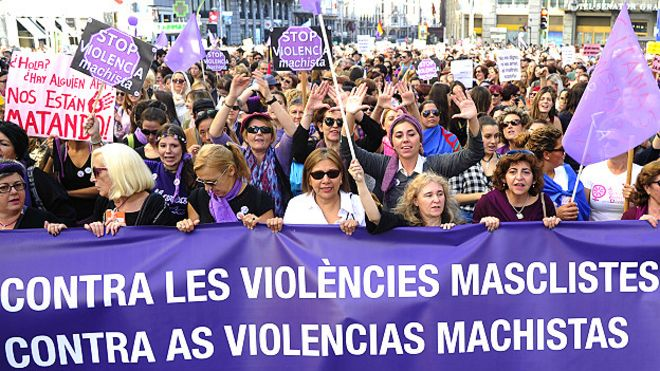 Марш против мужского террора прошел в Мадриде