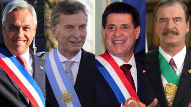 Piñera de Chile, Macri de Argentina, Cartes de Paraguay y Fox de Mexico, fueron y son ejemplos de los millonarios que llegaron a ser presidentes.