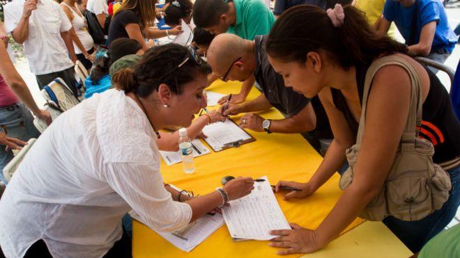 Resultado de imagem para La recolección de firmas para el referendo revocatorio en Venezuela