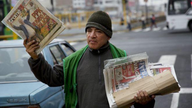 Un vendedor de periódicos