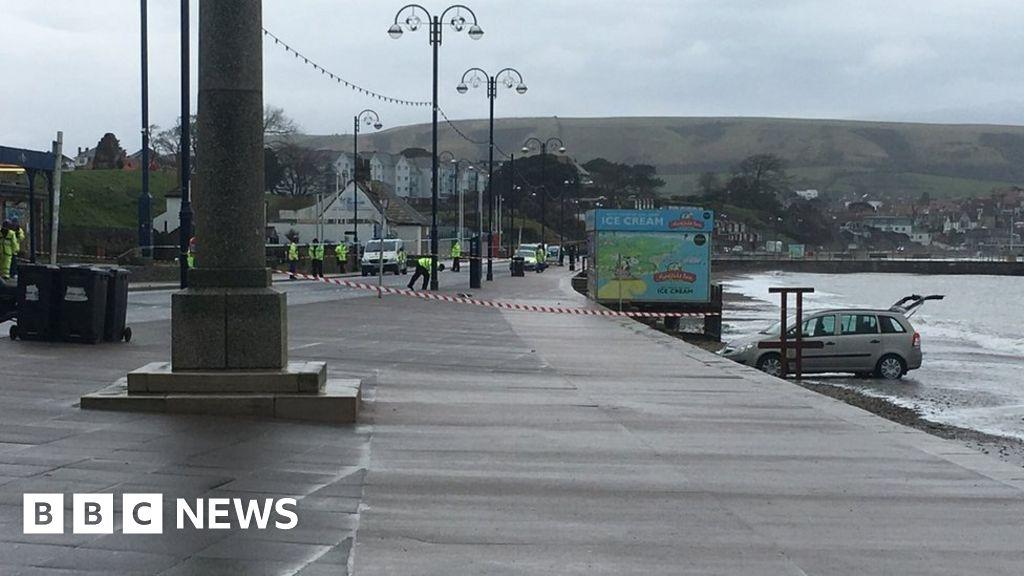 Swanage sea wall car crash pedestrian dies