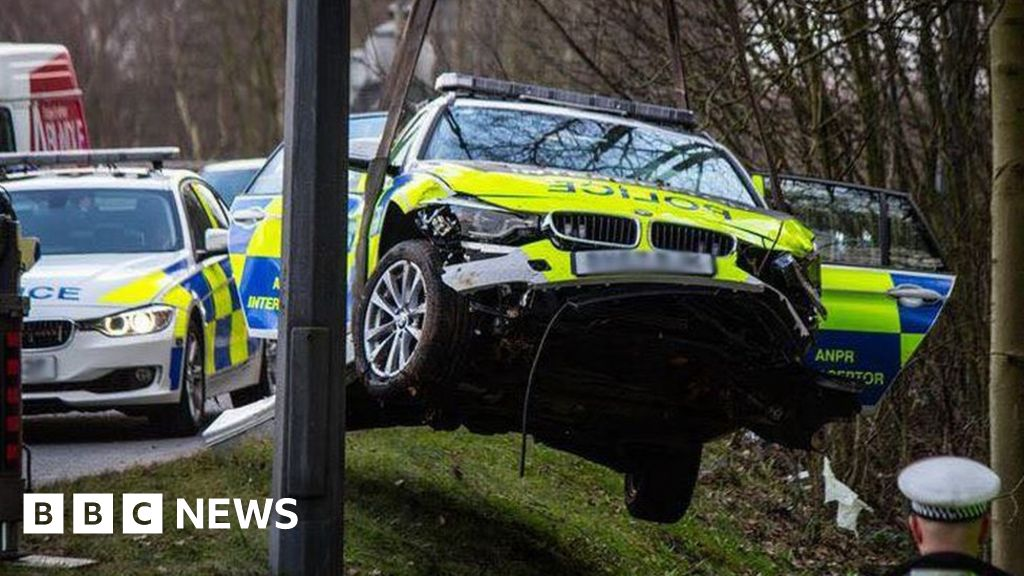 Cheshire Police cars crash during Wythenshawe off road chase