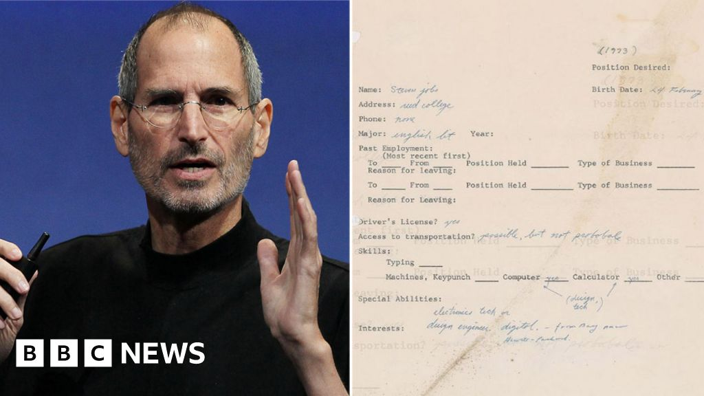Steve Jobs: Apple Founder's 1973 Job Application Going on Sale